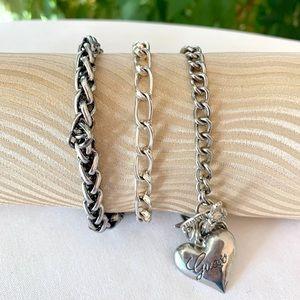Silver Charm Bracelets - Set of 3